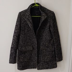 Theory tweed coat with zipper